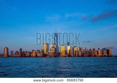 Manhattan Skyline From Jersey At Twilight, New York City