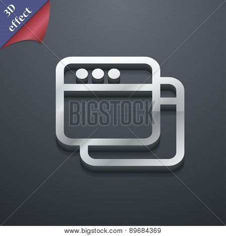 Simple Browser Window Icon Symbol. 3D Style. Trendy, Modern Design With Space For Your Text Vector