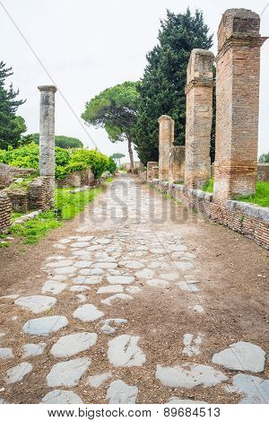 Decumanus Road In Ostia Old Town, Rome, Italy