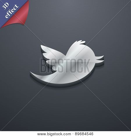 Social Media, Messages Twitter Retweet Icon Symbol. 3D Style. Trendy, Modern Design With Space For Y