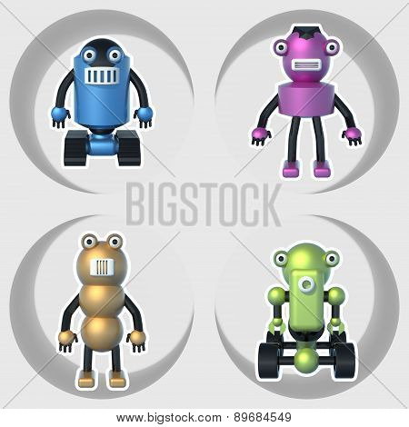 robots set of illustrations 3D