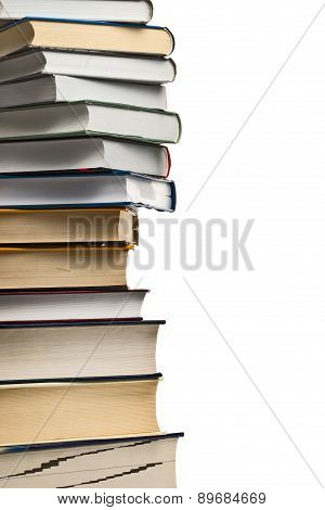Stack Of Used Books On White Background