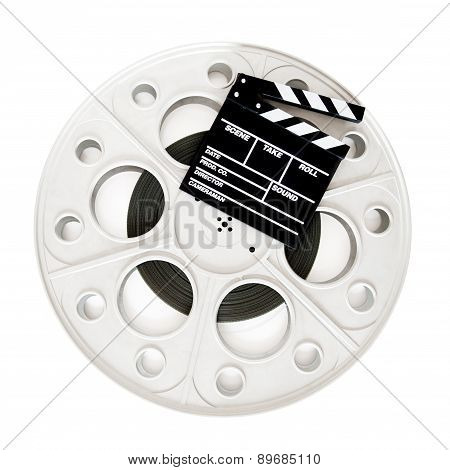 Movie Clapper On 35 Mm Cinema Film Reel Isolated