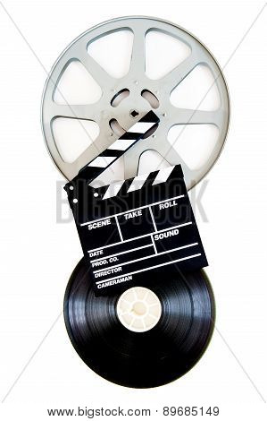 Movie Clapper On 35 Mm Film Reels Isolated Vertical