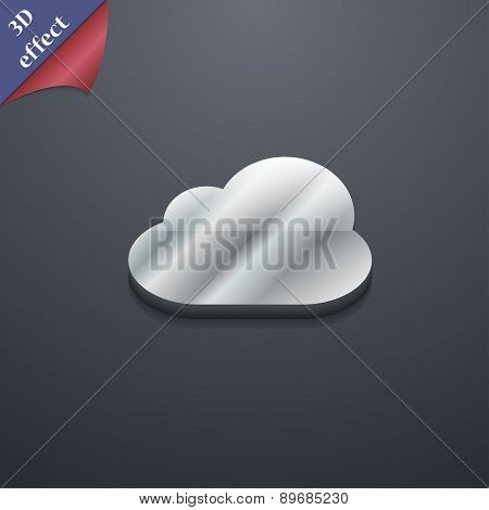 Cloud Icon Symbol. 3D Style. Trendy, Modern Design With Space For Your Text Vector