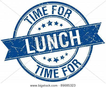 Time For Lunch Grunge Retro Blue Isolated Ribbon Stamp