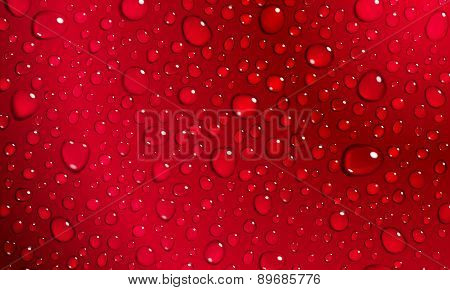 Red Background Of Water Drops