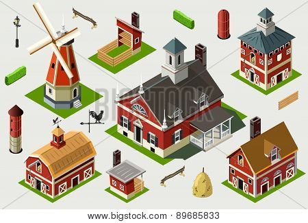 Isometric Great American Barn Set Tiles