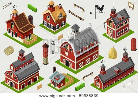 Isometric Old Building - American Barn Set Tiles