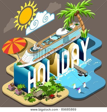 Cruise Holiday Isometric Postcard Infographic