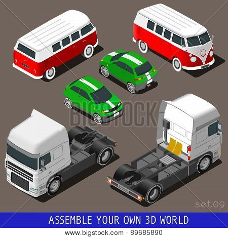 Isometric Flat 3D Vehicle Set At Car Park