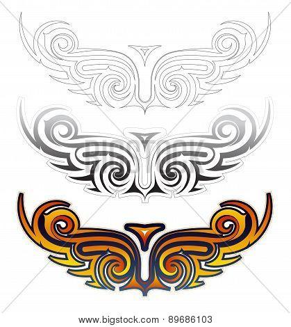 Ethnic Wings Tattoo Set