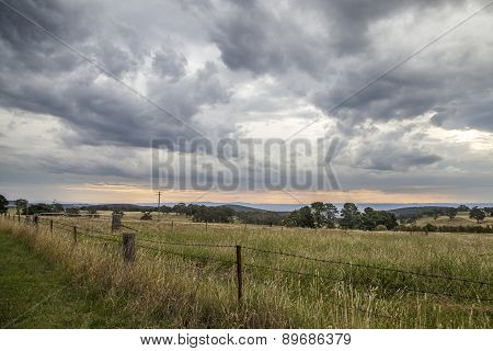 Stormy rural sunset
