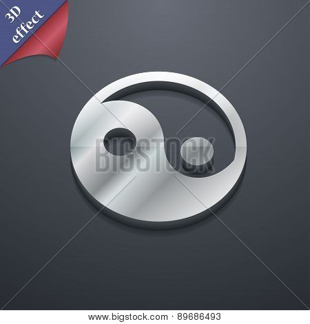 Ying Yang Icon Symbol. 3D Style. Trendy, Modern Design With Space For Your Text Vector