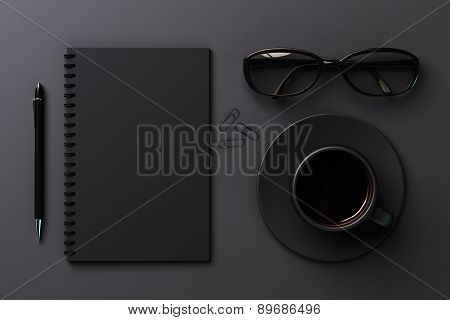 Blank Diary And Coffee Cup, Black Style