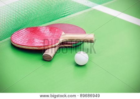 Table Tennis Or Ping Pong Rackets And Balls