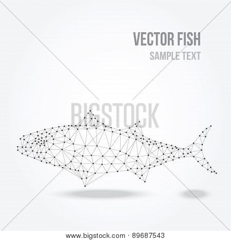 Polygonal Silhouette Of Tuna Fish, Modern Mesh Lowpoly Design, Vector