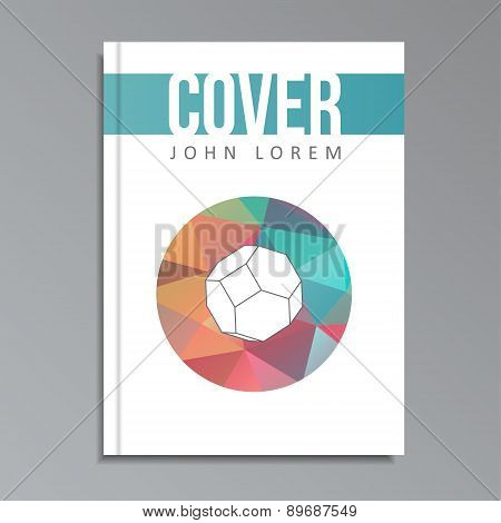 Modern Geometrical Cover Template For Book, Brochure, Polygon Style, Vector