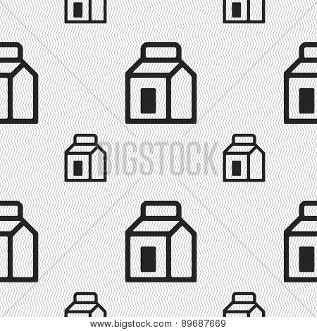 Milk, Juice, Beverages, Carton Package Icon Sign. Seamless Pattern With Geometric Texture. Vector