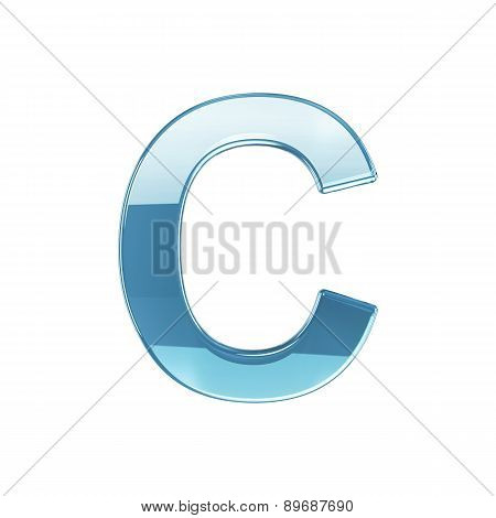 3D Render Of Glass Glossy Transparent Alphabet Letter Symbol - C Isolated On White Background