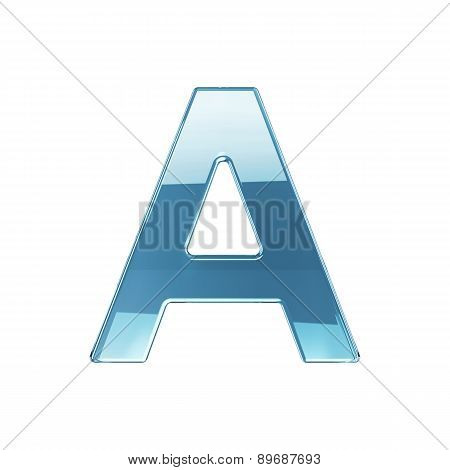 3D Render Of Glass Glossy Transparent Alphabet Letter Symbol - A Isolated On White Background