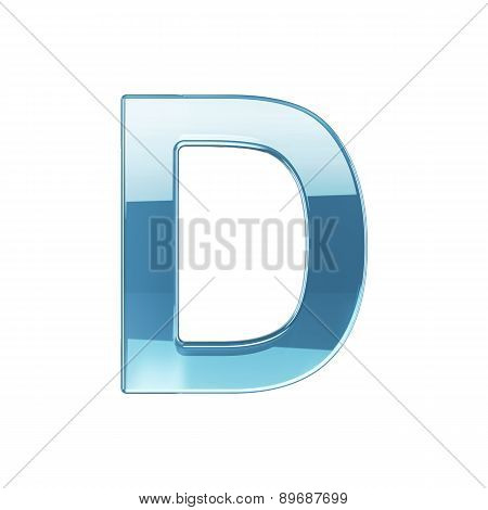 3D Render Of Glass Glossy Transparent Alphabet Letter Symbol - D Isolated On White Background