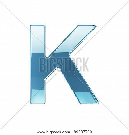 3D Render Of Glass Glossy Transparent Alphabet Letter Symbol - K Isolated On White Background