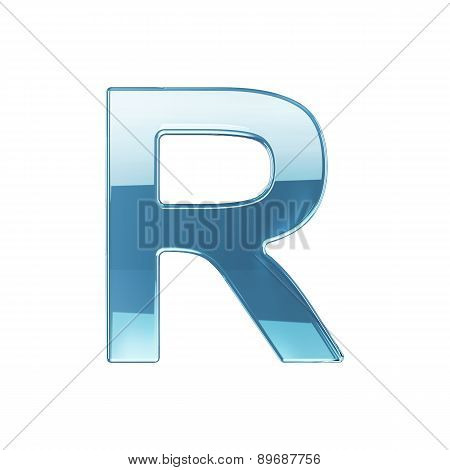 3D Render Of Glass Glossy Transparent Alphabet Letter Symbol - R Isolated On White Background