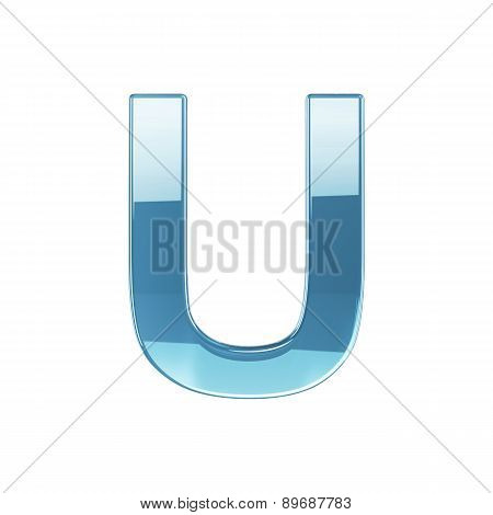 3D Render Of Glass Glossy Transparent Alphabet Letter Symbol - U Isolated On White Background