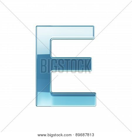 3D Render Of Glass Glossy Transparent Alphabet Letter Symbol - E Isolated On White Background