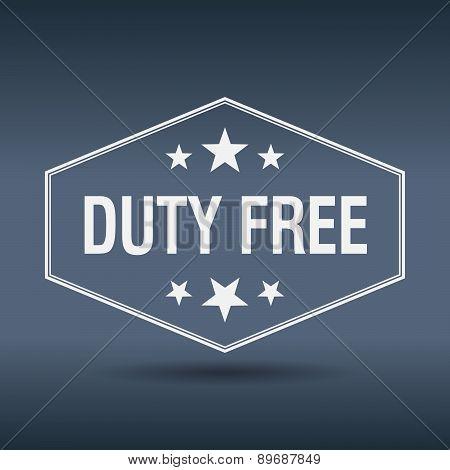 Duty Free Hexagonal White Vintage Retro Style Label