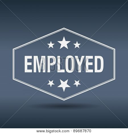 Employed Hexagonal White Vintage Retro Style Label