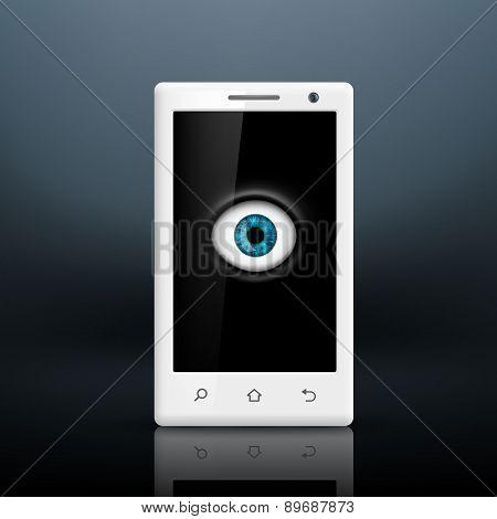 Human eye on the smartphone screen.
