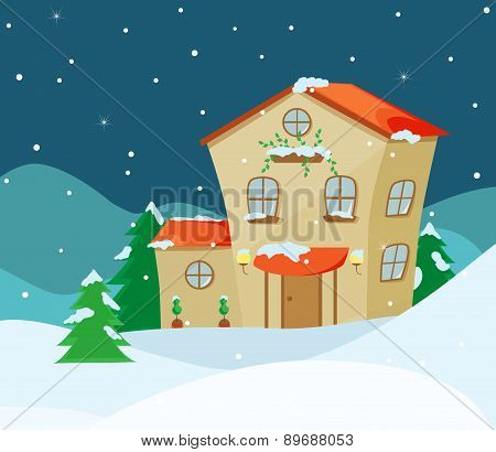 Vector illustration of Winter landscape with cartoon house
