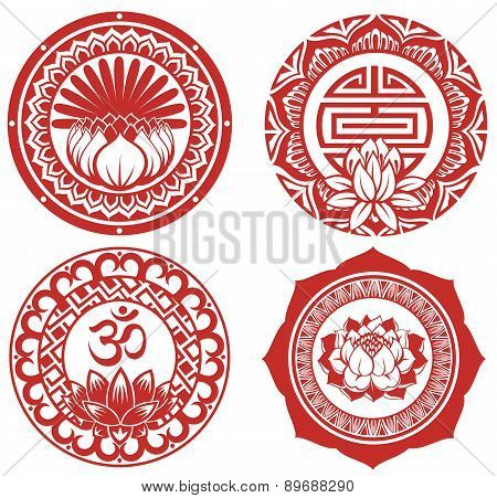 Frame with lotus.Oriental backgrounds