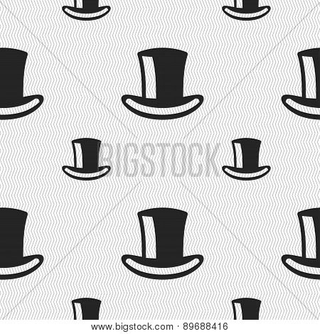 Cylinder Hat Icon Sign. Seamless Pattern With Geometric Texture. Vector