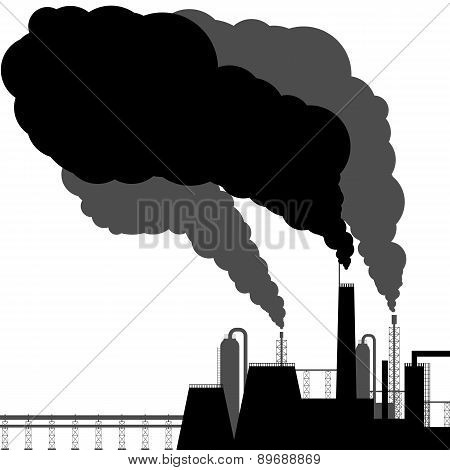 Pollution. Black Silhouette