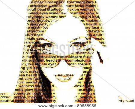Fashion words made portrait photo of a girl with sunglasses