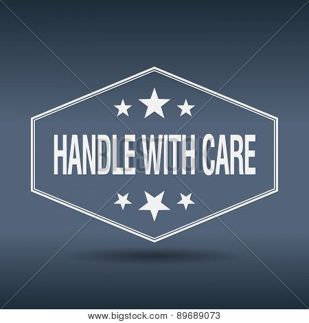 Handle With Care Hexagonal White Vintage Retro Style Label