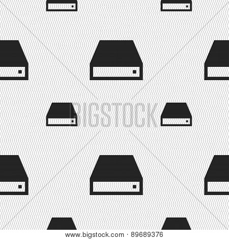 Cd-rom Icon Sign. Seamless Pattern With Geometric Texture. Vector
