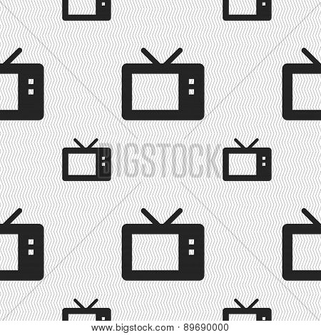 Retro Tv Mode Icon Sign. Seamless Pattern With Geometric Texture. Vector