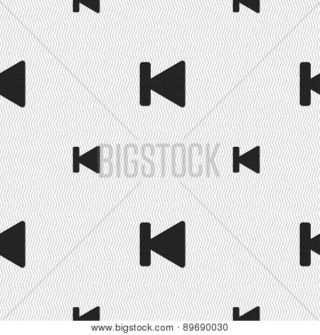 Fast Backward Icon Sign. Seamless Pattern With Geometric Texture. Vector