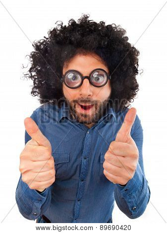 Funny Man With The Wig Showing Thumbs Up Sign
