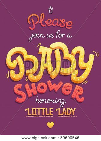 Baby shower card invitation. Typography greeting card little baby girl.
