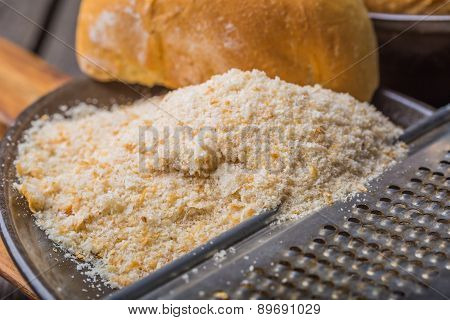 Homemade Breadcrumbs On A Wooden Table