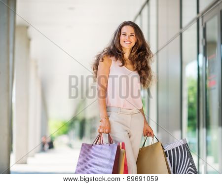 Brown-haired Woman Smiling About Her Successful Shopping Spree