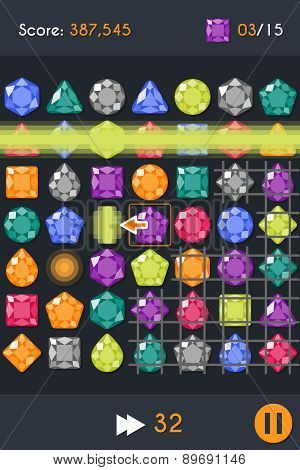 Match3 Gems Puzzle Game Screen