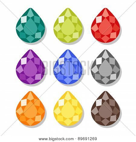 Cartoon Pear Gems Icons Set