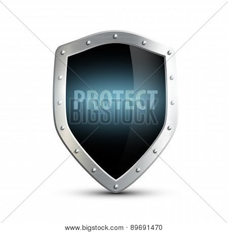 Metal Shield With The Inscription Protect. Isolated On White Bac