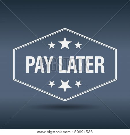 Pay Later Hexagonal White Vintage Retro Style Label